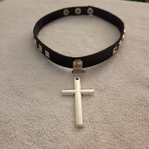 Cross Collar PU Leather choker with surprise necklace gift